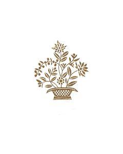 Colonial Flower Basket Motif - Genuine Engraving
